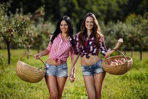 donne che trasportano cestini con le mele foto