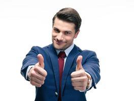 uomo d'affari che mostra il pollice in alto segno foto