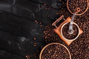 sfondo di caffè, vista dall'alto con spazio di copia foto