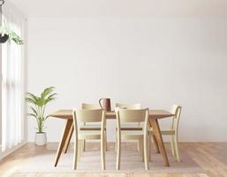 sala da pranzo su sfondo bianco, vista frontale foto