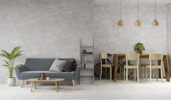 salone di stile del sottotetto di interior design e area pranzante, 3d
