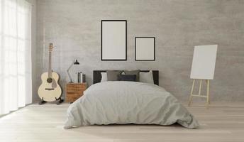 camera da letto in stile loft con cemento grezzo