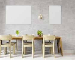 grande sala da pranzo con parete bianca per mock up