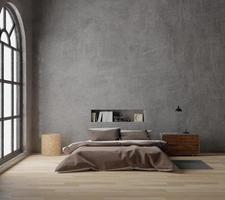 camera da letto con cemento grezzo, pavimento in legno, grande finestra