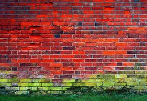 muro di mattoni rossi e verdi foto