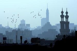 skyline del Cairo al crepuscolo foto