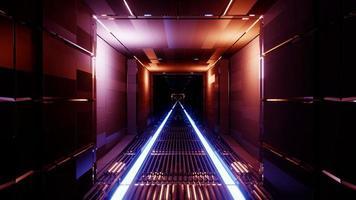 Fondo al neon scuro del tunnel dell'illustrazione 3d