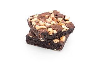 brownie al cioccolato su bianco foto