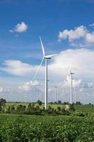 turbina eolica per energia alternativa sul cielo di sfondo sulla manioca foto
