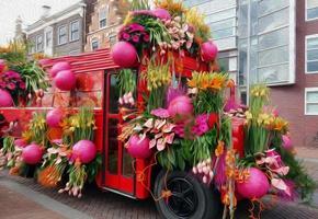 illustrazione di sfilata di fiori