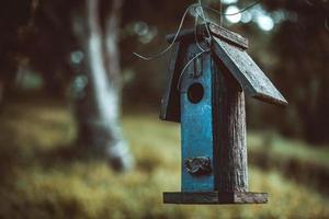primo piano di birdhouse blu