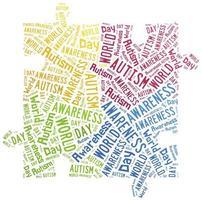 word cloud consapevolezza dell'autismo correlata foto