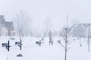 bufera di neve nel quartiere