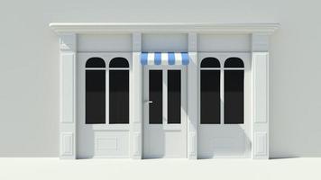 vetrina soleggiata con grandi finestre facciata bianca del negozio foto