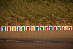splendide capanne sulla spiaggia di Woolacombe Bay foto