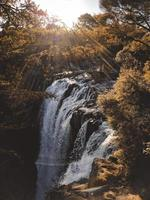 cascata tra rocce e alberi