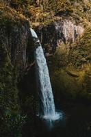 cascata, rocce e alberi
