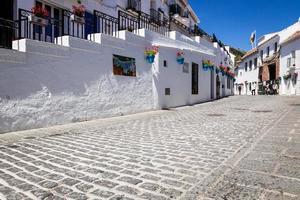 pittoresca strada di mijas con vasi di fiori in facciate. andalus