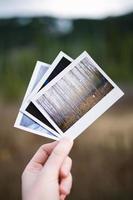 persona in possesso di tre immagini assortite foto