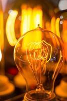 sfocatura della lampada della pannocchia del filamento principale incandescente a spirale foto