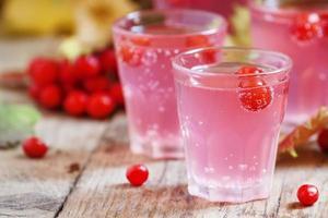 cocktail rosa con viburno, mirtillo rosso e cenere di montagna foto