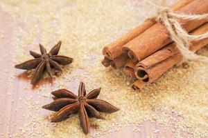 bastoncini di anice stellato e cannella su zucchero di canna