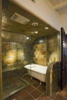 vasca da bagno e pareti piastrellate attraverso la porta di vetro dello schermo foto