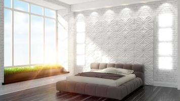 bellissimo interno della camera da letto moderna foto
