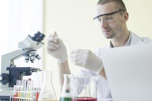 scienziato che tiene un contagocce e una provetta. foto