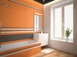interno del bagno con parete arancione rendering 3d 3 foto