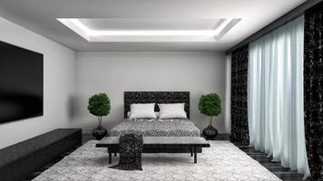 interno della camera da letto. Illustrazione 3D foto