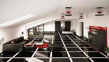 rendering 3d interni attico foto