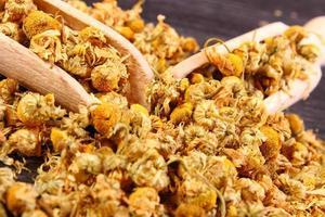 camomilla essiccata sul tavolo di legno, medicina alternativa foto