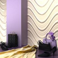 rendering 3d di specialità dello showroom dello shopping di moda foto