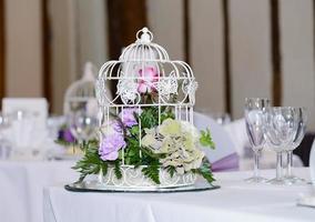 decorazione della tavola del ricevimento di nozze foto