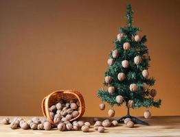 wallnuts in un cesto di vimini con un albero di pino foto