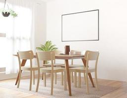 sala da pranzo con mock up su sfondo bianco