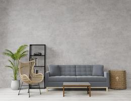 soggiorno in stile loft con cemento grezzo