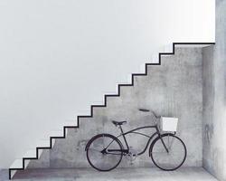 bicicletta retrò con cestino davanti alla parete interna foto