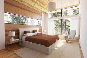 interno della camera da letto in legno foto