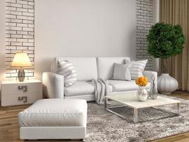 interno con divano bianco. Illustrazione 3D foto