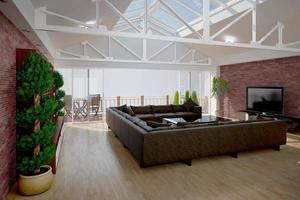 Rendering 3D di interni di un soggiorno foto