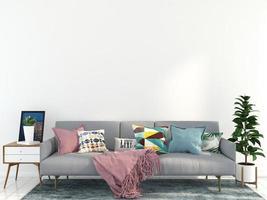 divano grigio nel soggiorno