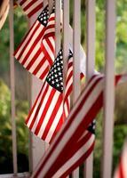 una fila di bandiere americane