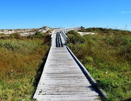 passerella che porta alla spiaggia foto