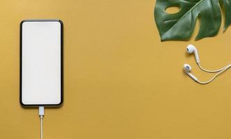 disposizione piatta di un mockup di smartphone con cuffie e foglia