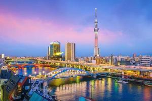 vista della skyline di tokyo al tramonto foto