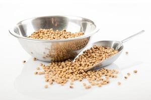 semi di soia con cucchiaio di trasferimento e ciotola