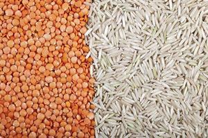 sfondo di lenticchie e riso