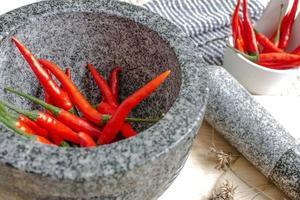 peperone rosso nel mortaio